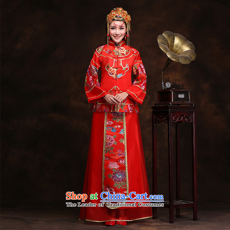 Hei kaki-soo Wo Service bridal dresses ancient Chinese wedding dress wedding dresses?XH77 marriage services bows?Sau Wo service plus crown plus earrings?L
