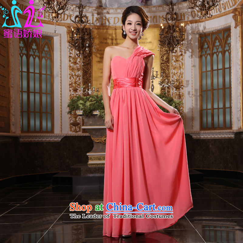 Talk to her new bride bridesmaid bows services dress marriage straps wedding short of evening long single shoulder larger watermelon red?XXL