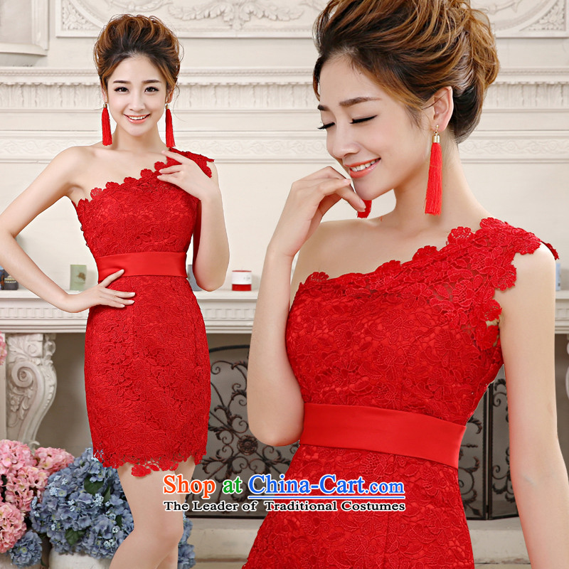 Noritsune bride 2014 New Red Korean bows dress lace shoulder short skirt small and bows service package dress Show Dinner with tailored dress red?XS