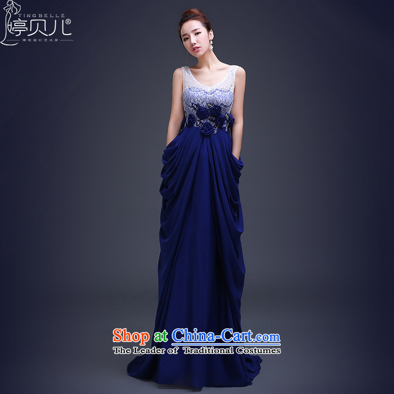Beverly Ting evening dress tail Annual Meeting 2015 new autumn and winter banquet bridesmaid dress Stylish spring bride bows services Long Lake Sau San blue?XL