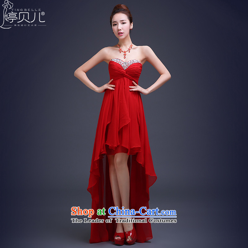 Beverly Ting bows services 2015 Spring dress marriages red Korean fashion before wiping the chest after the end of the long, short evening dresses red?XL