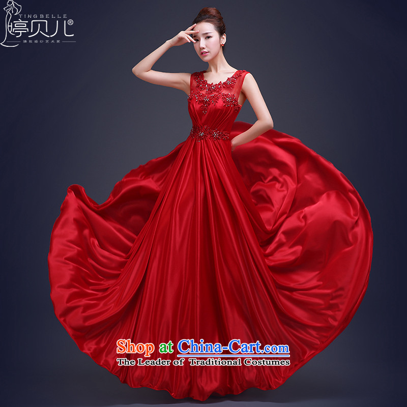 Beverly Ting bows Service Bridal Fashion Spring 2015 New 2 shoulder evening dresses red bridesmaid dress long Sau San Female Red聽L