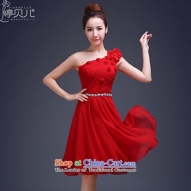 Beverly Ting bows services 2015 new marriages banquet evening dresses and stylish single short of small shoulder dress bridesmaid services spring red聽XXL