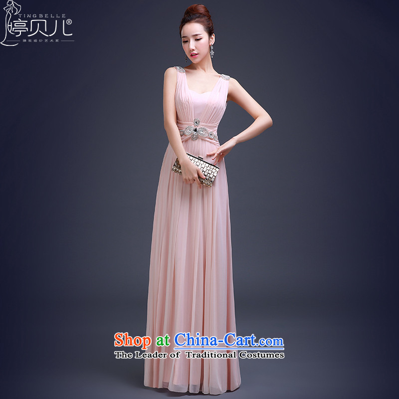Beverly Ting evening dresses annual bride wedding dress long shoulders 2015 New Sau San bridesmaid services serving the Spring Banquet bows Pink Pink?L