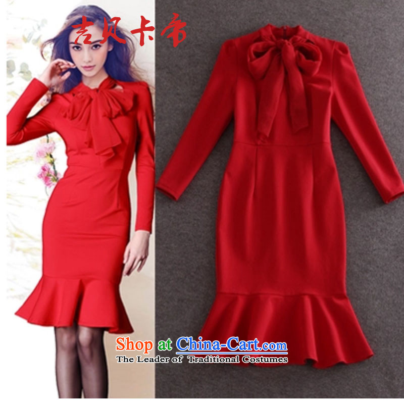 Gibez card in Dili A526# 2015 spring bow tie long-sleeved Sau San package and crowsfoot skirt dresses dress skirt RED?M