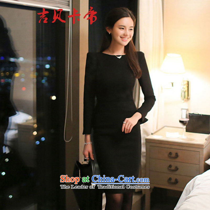 Gibez 197# Dili long-sleeved elegant card forming the gift of the Sau San skirts services Korean married red dress female black?M