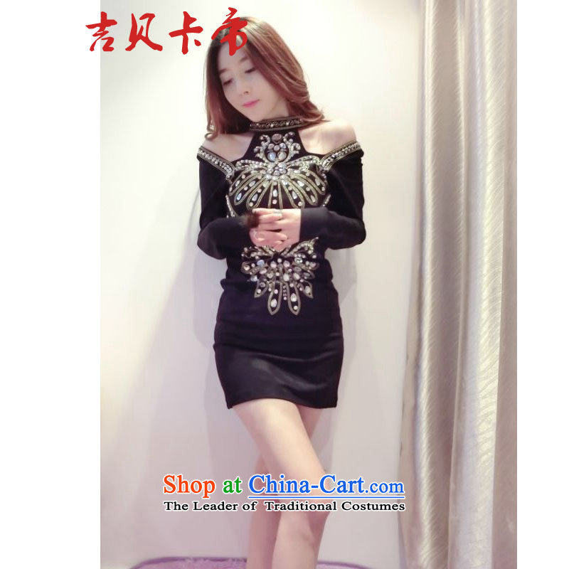 Gibez Card Dili 1625 sexy goddess of aristocratic temperament embroidery nail jewelry Shek Sau San video thin long-sleeved gown small black skirt?M