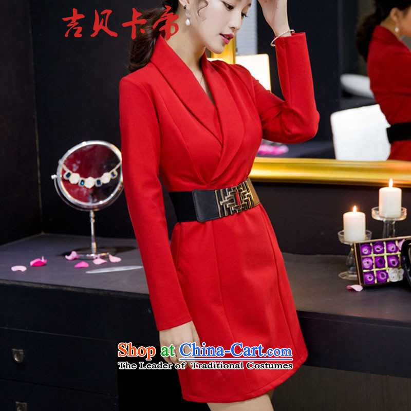 Gibez card in Dili of autumn and winter 1112# aristocratic ladies dress skirt thick long-sleeved temperament package and forming the dresses RED?M