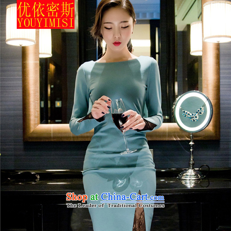 In accordance with the key, 2015 optimized new aristocratic elegant fluoroscopy lace package and dresses dress long light blue?M