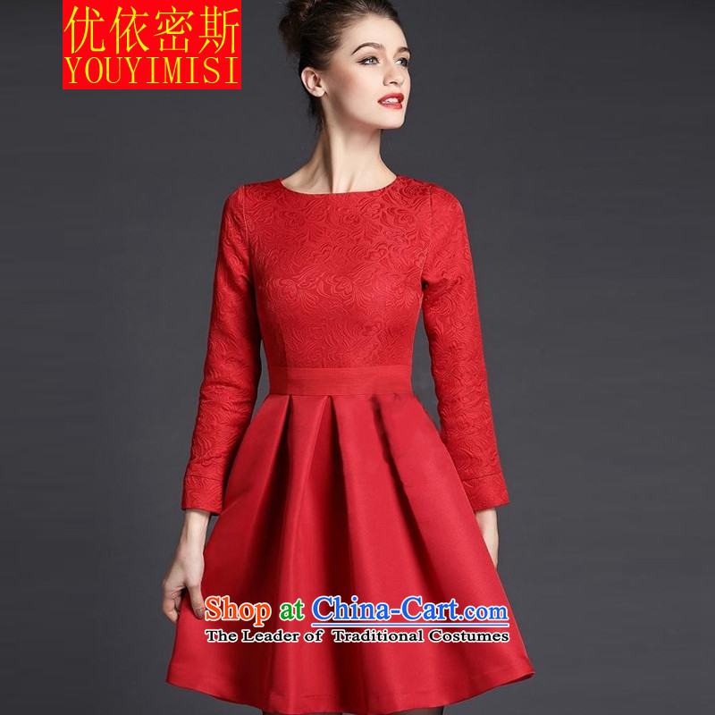 In accordance with the key, 2015 optimized large red dress married women serving drink autumn and winter aristocratic dress annual long-sleeved red dress banquet?XL
