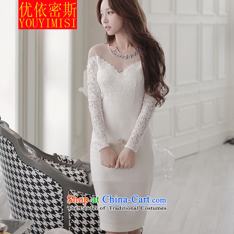 In accordance with the key, 2015 optimized new OL dresses and sexy women wear long-sleeved package lace and dresses dress white?S