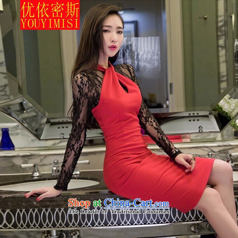 In accordance with the key, 2015 to optimize the new Korean female sexy fluoroscopy lace hangs also engraving long-sleeved gown dresses red?L