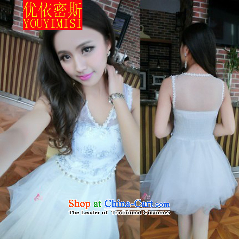 In accordance with the key, 2015 optimized new aristocratic sexy fluoroscopy gauze lace stitching irregular Sau San dresses dress skirt White?M