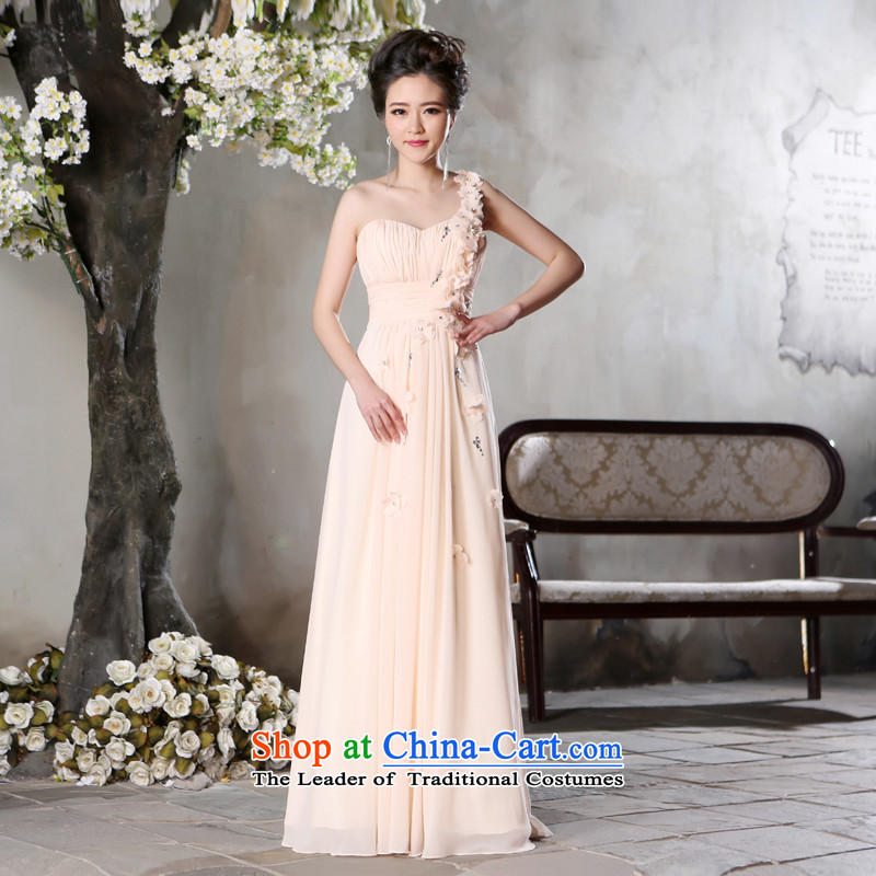 Jie Mia? autumn 2015 new single shoulder length of a Female dress banquet bridesmaid long skirt evening dress light pink?M
