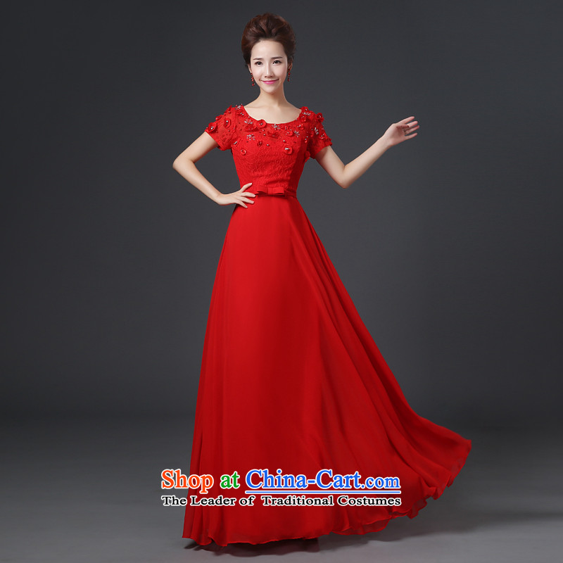 Jie mija long gown 2014 new bride wedding dress red bows services stylish lace wiping the chest long skirt autumn and winter, Red?XXL