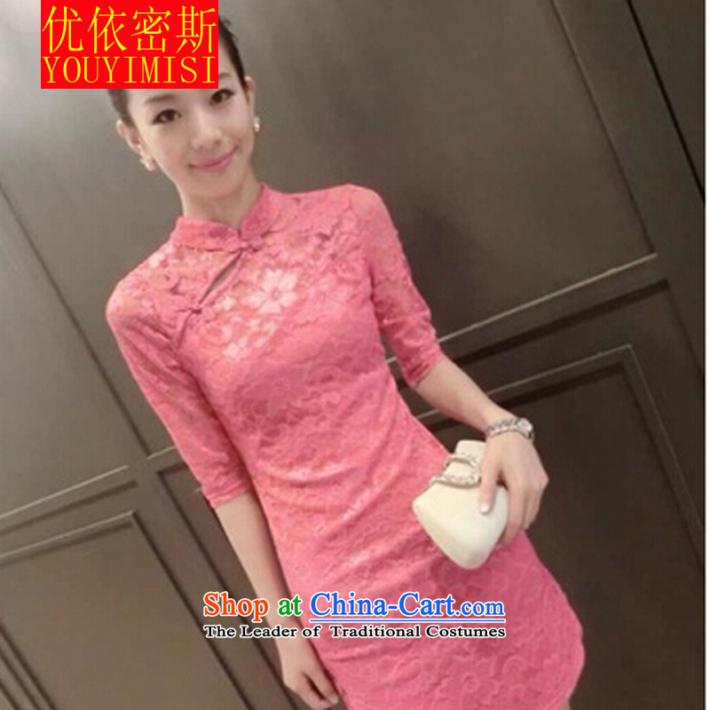 In accordance with the key, 2015 optimized load new autumn lace Sau San video thin cheongsam dress pink?XL