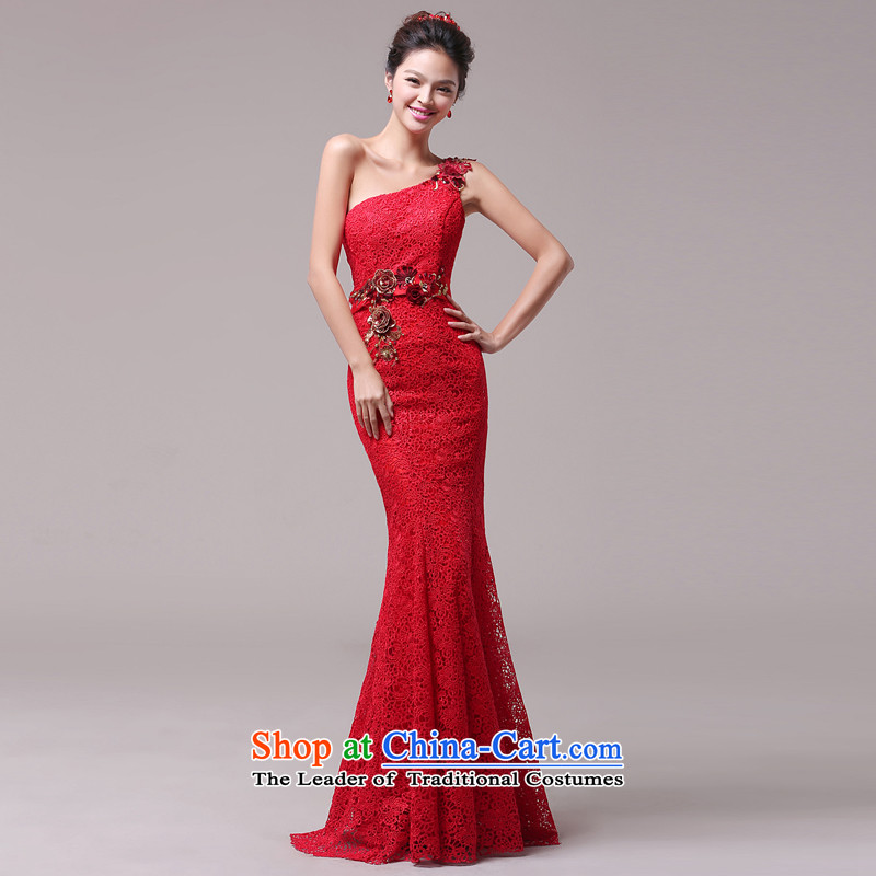 Jie Mija 2015 new wedding dresses red single shoulder lace long crowsfoot bows services marriages evening dresses red S