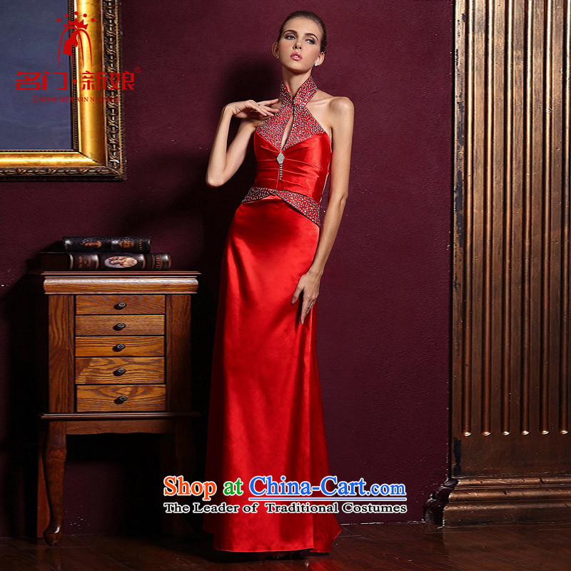 A bride wedding dresses marriage hang also dress red long bows to align the evening dresses?762?red?S