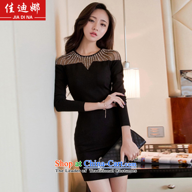Better Dina?spring 2015 the new Western-style clothes nightclubs and sexy aristocratic nails and long-sleeved knitted Pearl Package dresses dress 379 Black?M