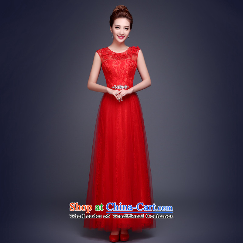 The Republika Srpska divas long autumn 2015 new bride bows shoulders lace zipper large graphics thin flowers of pregnant women Sau San beaded marriages evening dresses bows to red?L stylish and elegant)