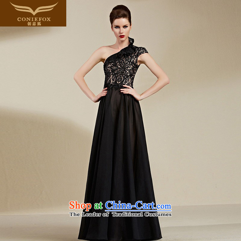 Creative Fox evening dresses?2015 new black sexy shoulder dress long evening dress Female dress bows service banquet long skirt 82102 Black?XXL