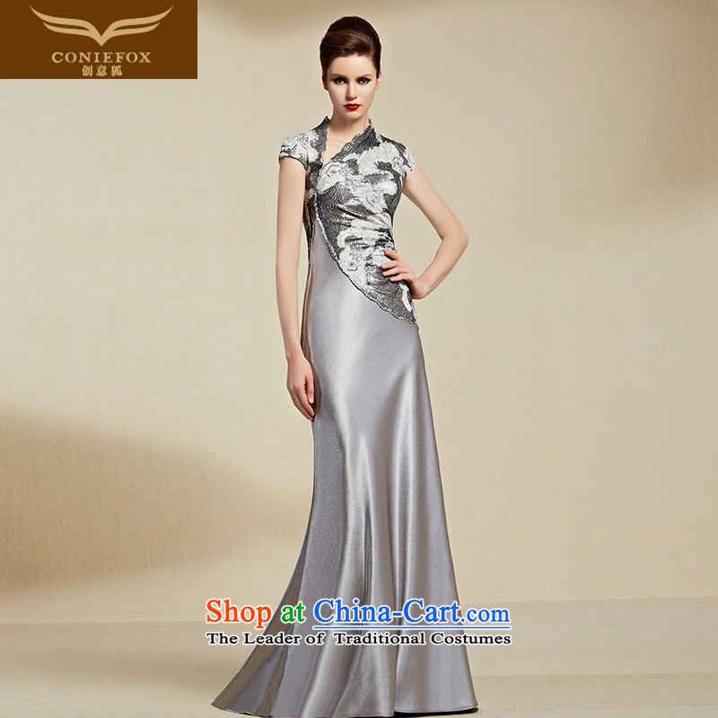 Creative Fox evening dresses�2015 new dress long evening banquet Female dress bows services under the auspices of the annual meeting of the Sau San dress model dress female 82093�S Light Gray