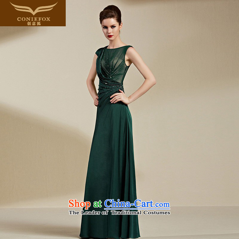 Creative Fox evening dresses?2015 new evening banquet dress diamond long high waist companies under the auspices of the annual dress long skirt bows service 82092 green?L
