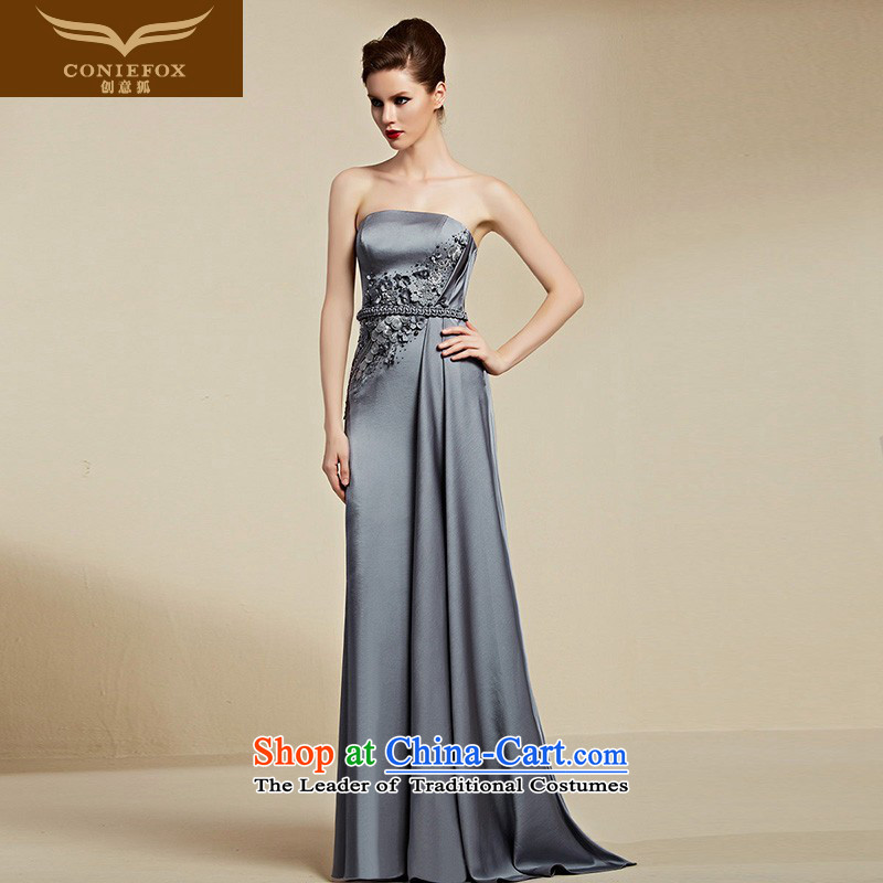 Creative Fox evening dresses�2015 new anointed chest bridesmaid dress female long banquet hosted the annual dress skirt evening dress suit 82083 Back Light Gray�L