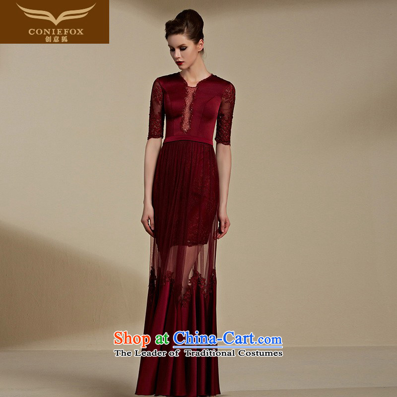Creative Fox evening dresses聽2015 new evening dresses long red dress bride wedding dresses banquet bows dress female booking wedding dress 82081 Deep Red聽S