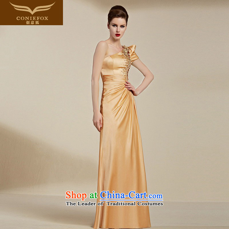 Creative Fox evening dresses?2015 new evening banquet Female dress shoulder long bridesmaid dress annual events including dress uniform 82069 bows Yellow?M