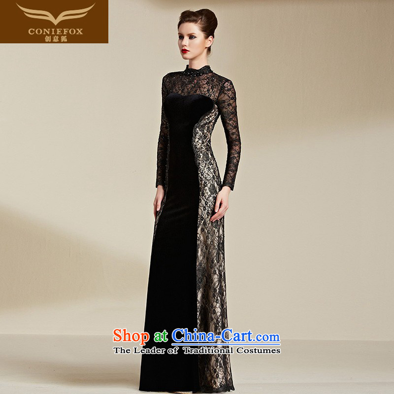 Creative Fox evening dresses�2015 new lace long-sleeved black dress banquet evening dress skirt elegant service package shoulder dresses bows long 82066 Black�M