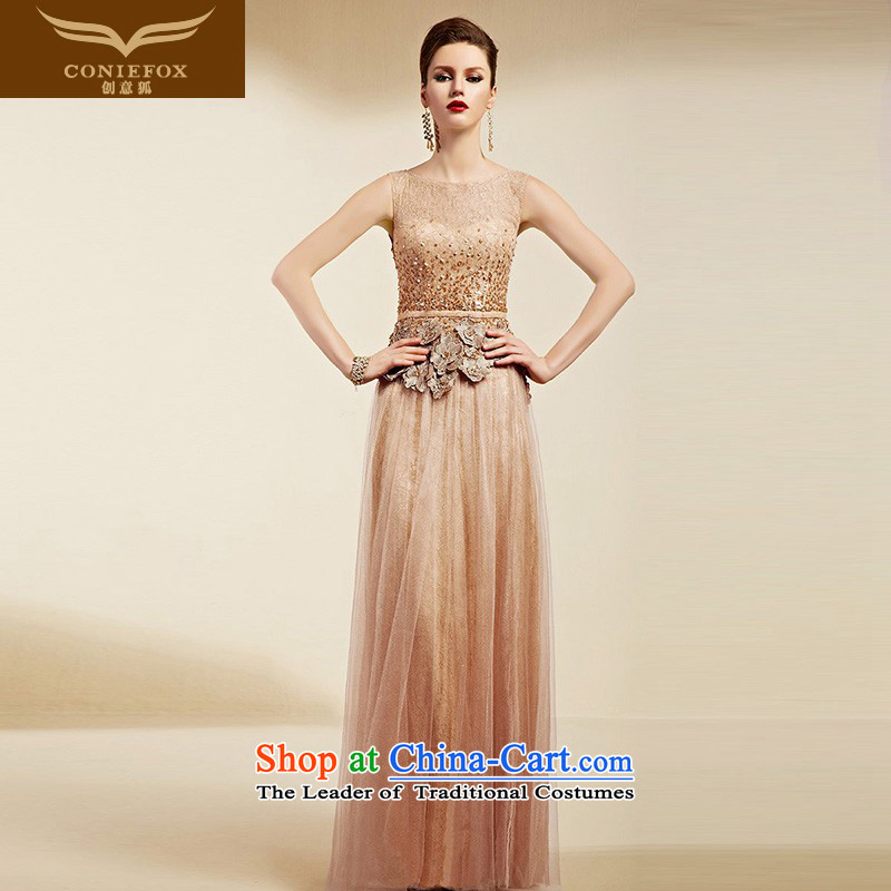 Creative Fox evening dresses?2015 new elegant long shoulders evening dress female banquet dress uniform bridesmaid dresses bows moderator dress 82063 orange?XXL