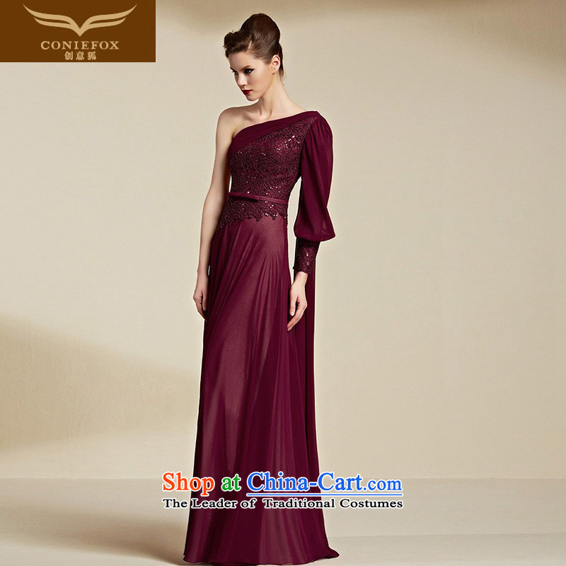 Creative Fox evening dresses?2015 New banquet long gown bridal wedding dress evening drink services shoulder bridesmaid dress long skirt?30850?aubergine?L