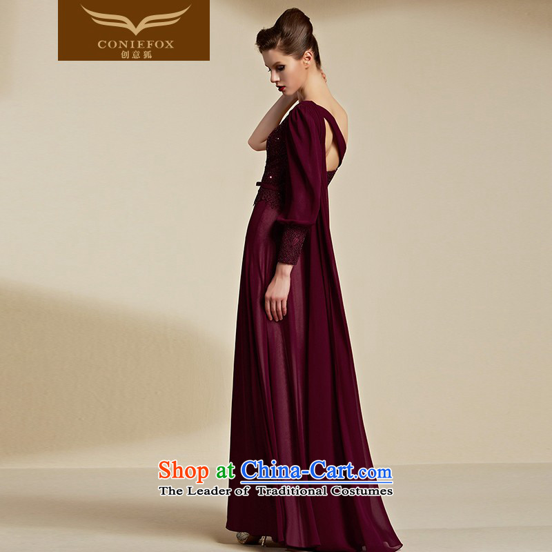 Creative Fox evening dresses 2015 New banquet long gown bridal wedding dress evening drink services shoulder bridesmaid dress long skirt 30850 aubergine , L, creative Fox (coniefox) , , , shopping on the Internet