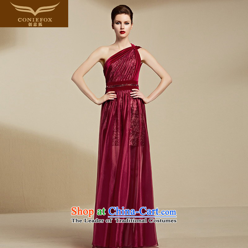 Creative Fox evening dresses?2015 new red bride wedding dress sexy shoulder bridesmaid evening dress female banquet dress long 30818 Red?S
