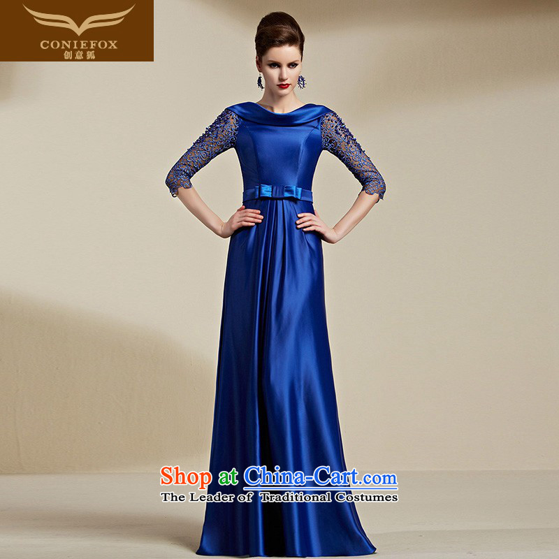 Creative Fox evening dresses聽2015 new stylish blue long-sleeved gown banquet dress annual meeting of persons chairing the toasting champagne evening dress suit 30816 blue聽S