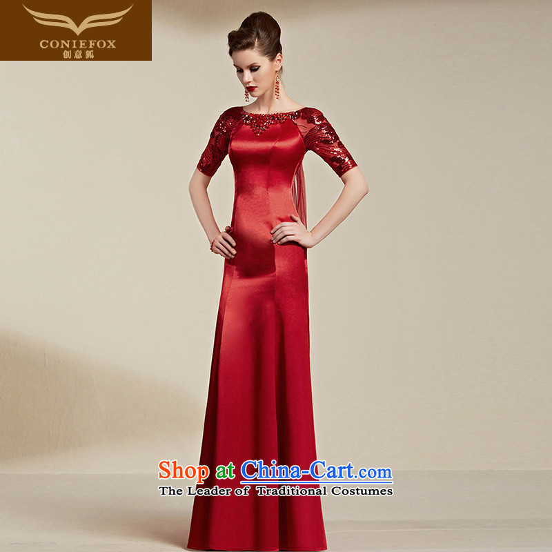 Creative Fox evening dresses?2015 new red bride wedding dress banquet evening drink served girl long of Sau San wedding dress 30813 Deep Red?S