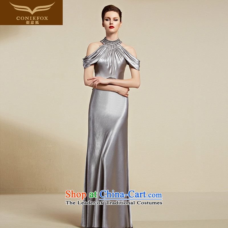 Creative Fox evening dresses�2015 new hang also dress long evening dresses and evening banquet dress bows her dress and female model 30808 dress light gray�XL