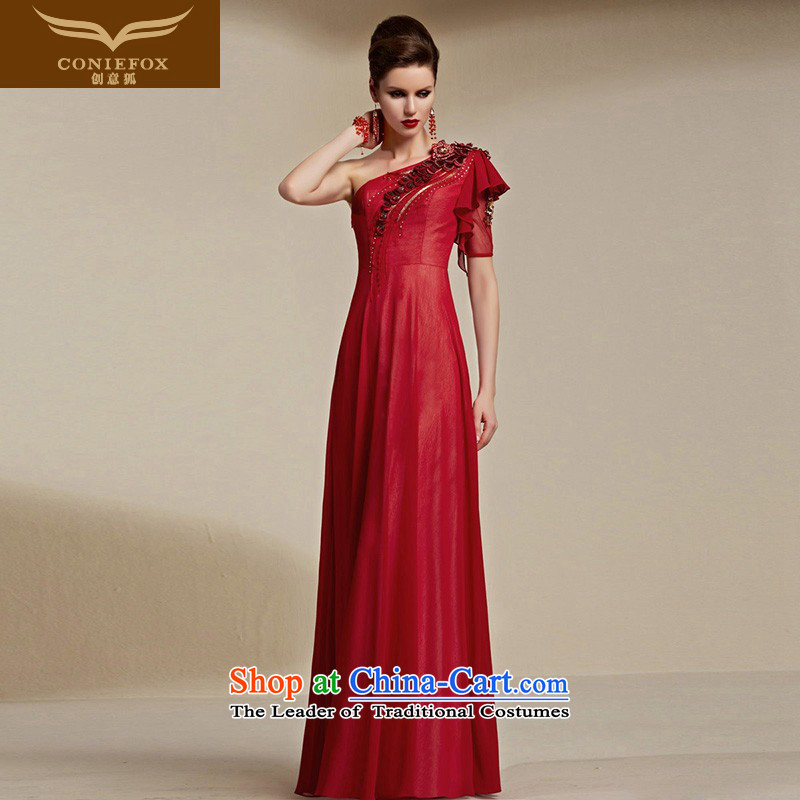 Creative Fox evening dresses聽2015 new red bride wedding dress long single shoulder bows services evening dresses evening dress dress 30803 Female Red聽XL