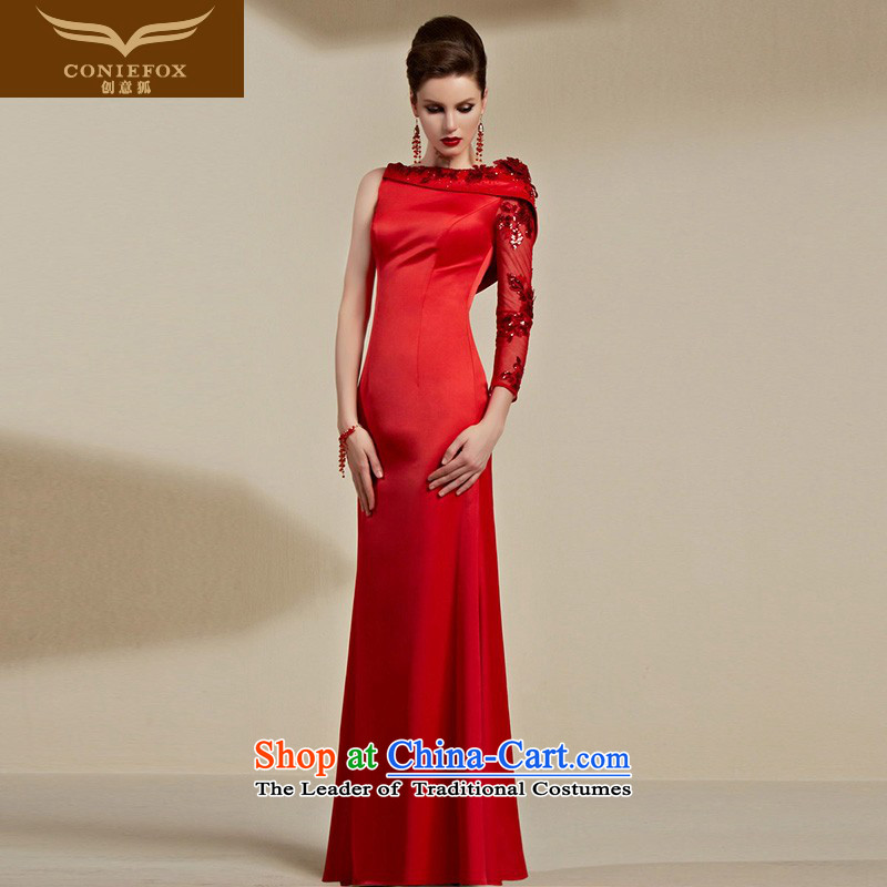 Creative Fox evening dresses聽2015 new red bride wedding dress evening banquet female long serving under the auspices of the annual bows dress long skirt 30693 Red聽S
