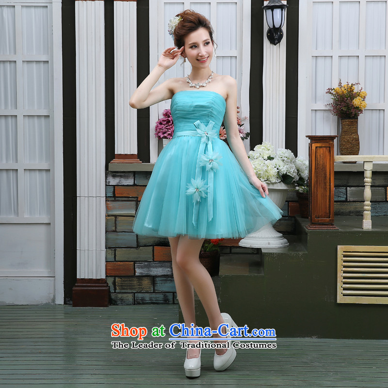 Jie mija wedding dresses new 2015 purple champagne color bon bon skirts and chest in a small blue dress short bridesmaid services skyblue?XXL