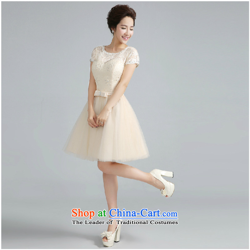 Jie Mia dress the new bride 2014 Sau San bridesmaid serving drink service, shoulders evening dress small sister skirt Fall/Winter Collections light color Penang?XXL