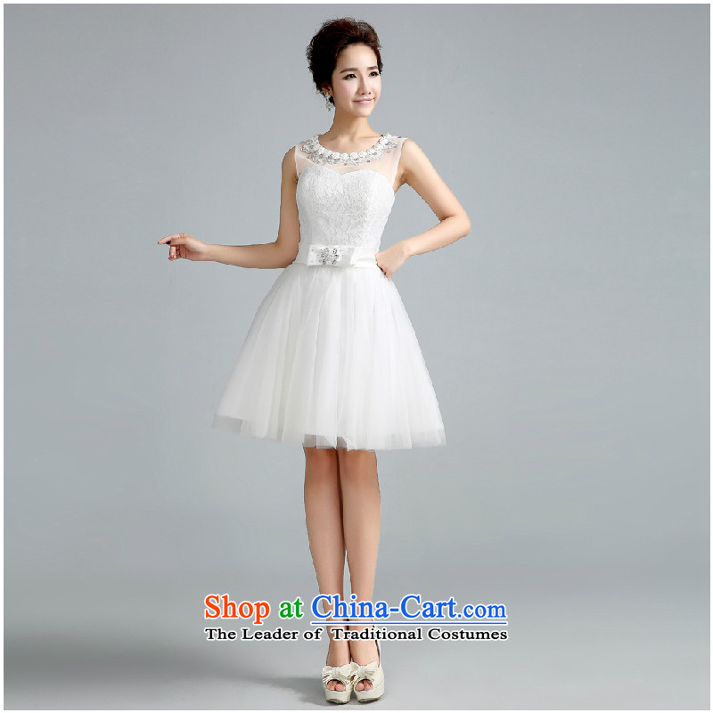 Jie Mija?2015 new Korean Won Princess version bon bon skirt small Dress Short of bride bridesmaid services bridesmaid betrothal short White?XXL