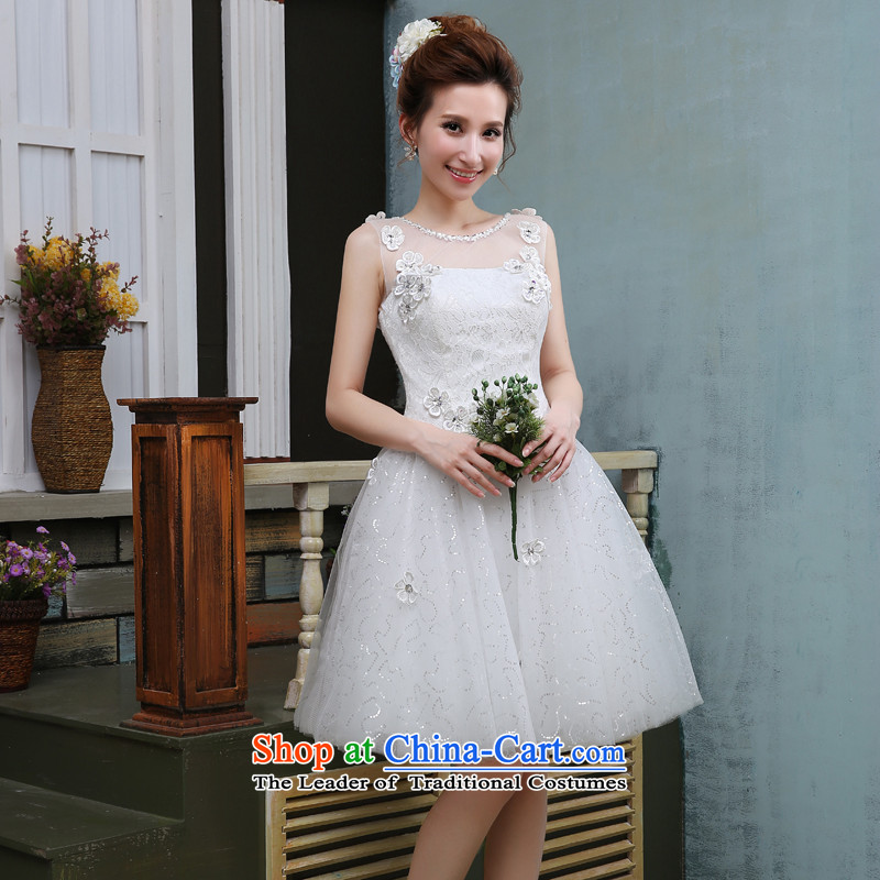 Jie mija wedding dresses?2015 new drink red lace flower service short, shoulders a small white dress bridesmaid Services White?XL