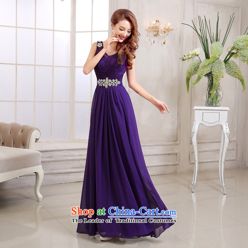 2015 new dresses bows services marriages red upscale dinner dress long wedding bridesmaid service female purple?M