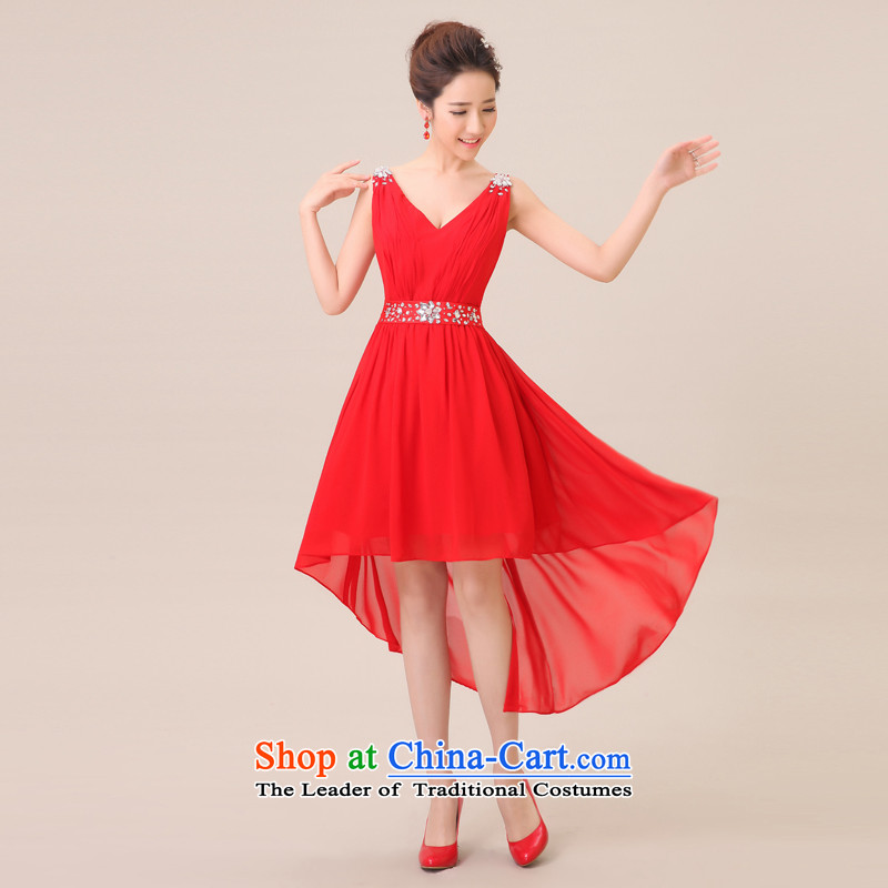Jie Mija? 2015 new bride Wedding Dress Short) before serving bridesmaid short long after the shoulders, red long bows evening dress red?XXXL
