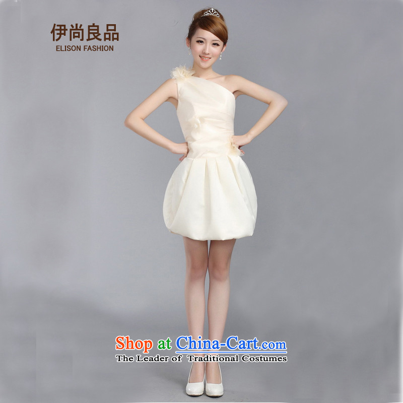 Ishan goods stylish tight elastic bride bridesmaid marriage shoulder bows to show small dress champagne color?M