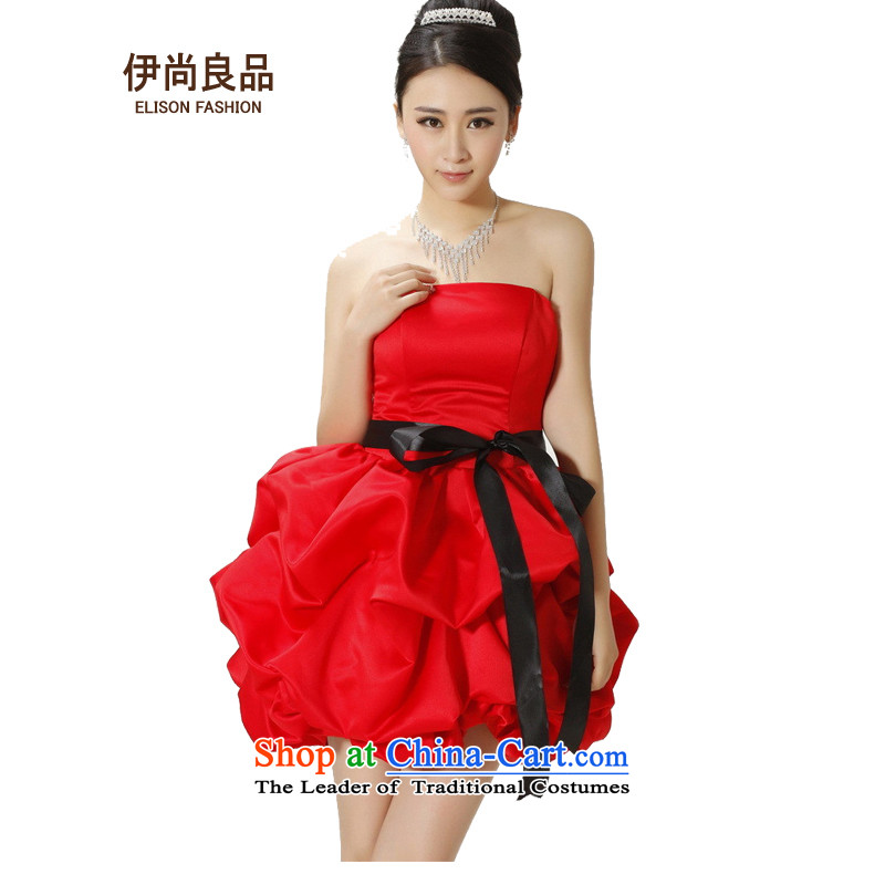 Ishan goods women 2014 bride bridesmaid bows short of evening dresses wedding Dinner Performances bon bon small dress RED�M