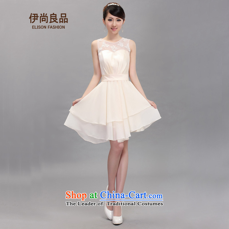 Ishan goods and sexy female champagne color asymmetric dress star small dress bride bridesmaid marriage bows services champagne color聽L