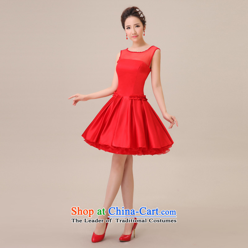 Jie mija bridesmaid dress short skirt Fashion, 2015 bride dress small dress new marriage evening dresses red?S